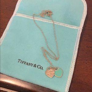 Tiffany & Co Double Heart Enamel Necklace